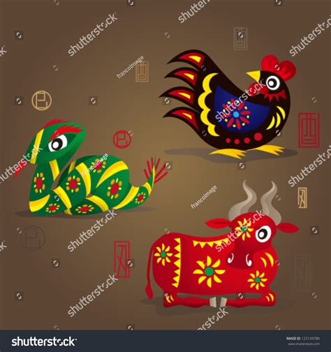 3 chinese zodiac mascots rooster snake stock vector