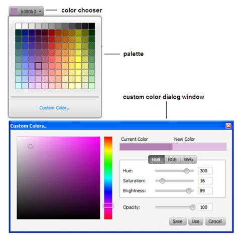 javafx color display custom color dialog directly javafx colorpicker