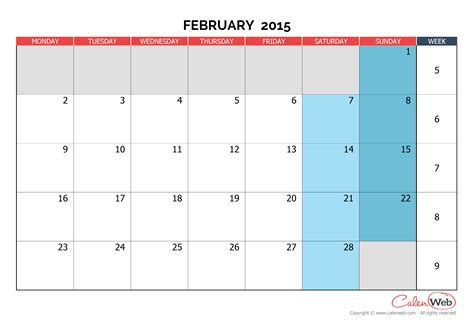 2015 printable monthly calendar template monthly calendar month of february 2015 the week starts