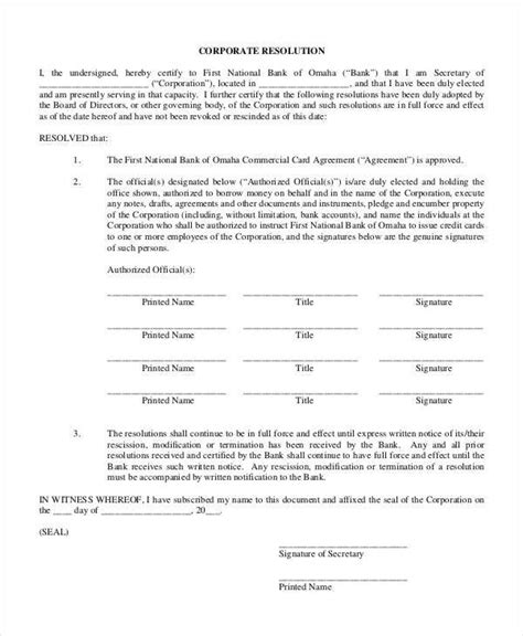corporate document templates corporate resolution form 7 free word pdf documents
