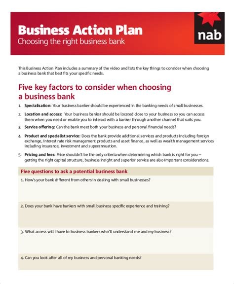 Business Development Action Plan Template Bdc Business Plan Template