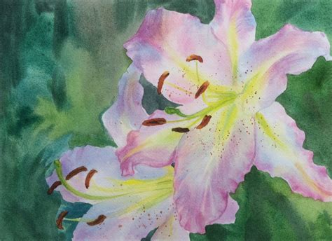 watercolor water lily tutorial close up lily flowers watercolor painting
