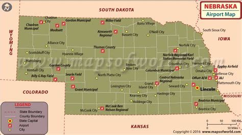 distance to lincoln nebraska airports in nebraska nebraska airports map