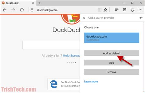 how to set default search engine in microsoft edge