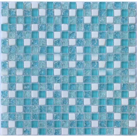 cream stone crackle crystal tile backsplash blue glass