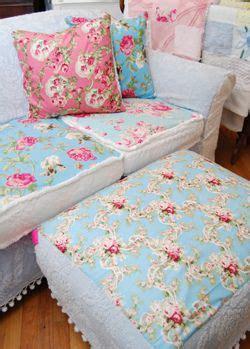 Aqua Sofa Slipcover by Sofa Ottoman In Aqua Pink White Fabrics Vintage