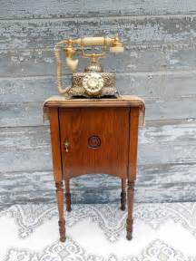 antique telephone cabinet table stand brass