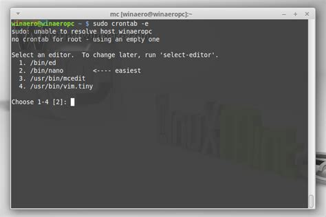 tutorial crontab linux how to reset editor for crontab in linux mint