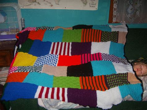 Knitted Patchwork Quilt - knit patchwork afghan 183 a knit patchwork blanket