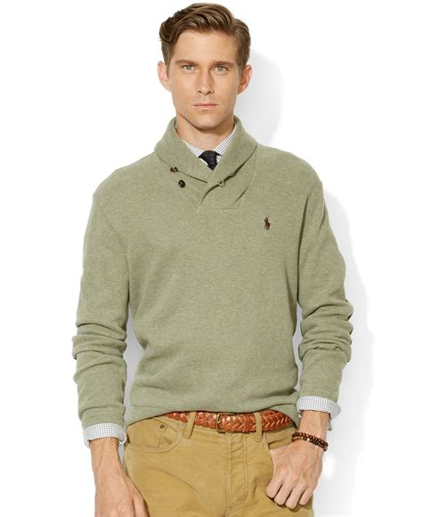Polo Sweater lyst polo ralph rib shawl sweater in green