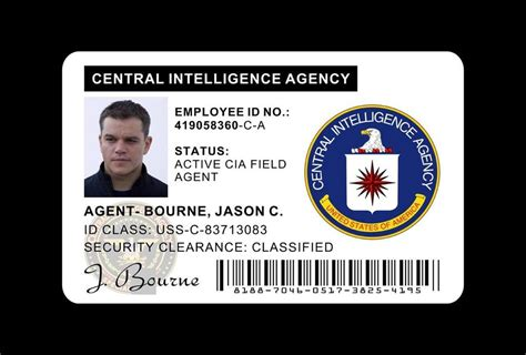 cia id card template maker the bourne identity wallet id card prop jason bourne s