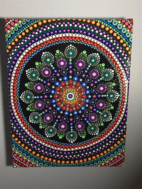 dot pattern art hand painted mandala on canvas mandala meditation dot