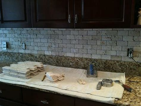ceramictec 2x4 tumbled chiaro travertine backsplash