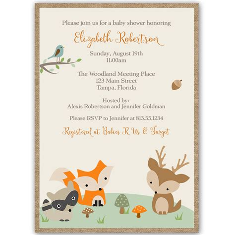 Woodland Friends Baby Shower Invitation The Invite Lady Friends Themed Invitation Template