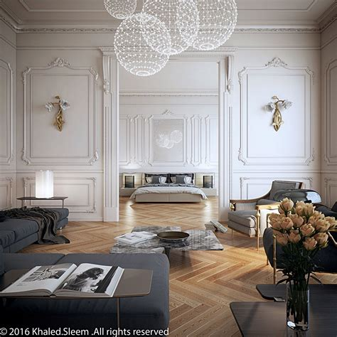 neoclassical decor living room bedroom camel floors white walls grey
