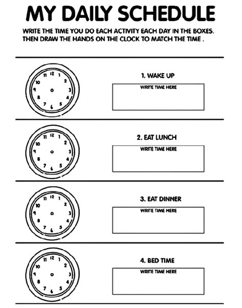My Picture Book Times Tables daily schedule time coloring page crayola
