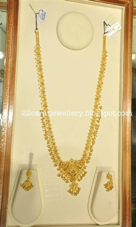 carat gold long chaingundla mala paired  earrings