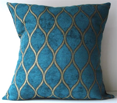 Peacock Colored Pillows by New 18x18 Inch Designer Handmade Pillow Peacock Blue And