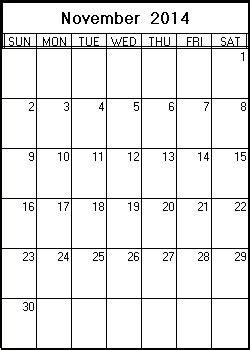 printable month calendar november 2014 november 2014 printable calendar