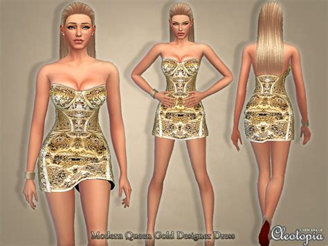design clothes sims 4 the sims resource set23 modern queen gold designer dress