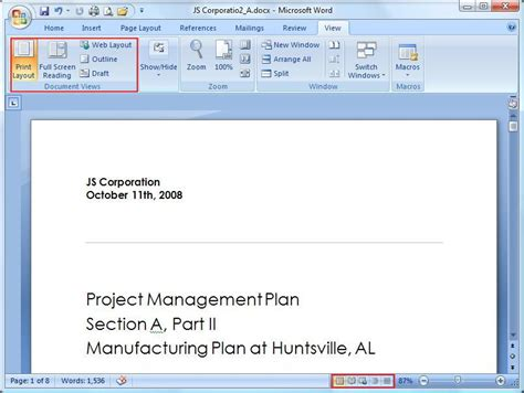 web layout view office 2007 microsoft word view tab tutorial