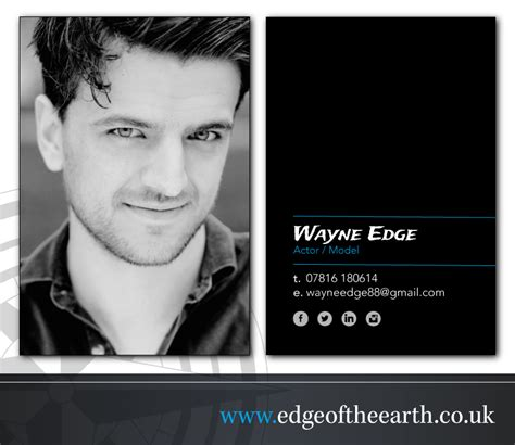 Actors Business Cards Edge Of The Earth Actor Postcard Template