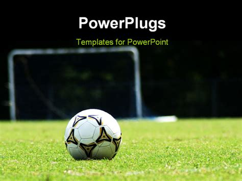 free football powerpoint templates white soccer on green grass field powerpoint template