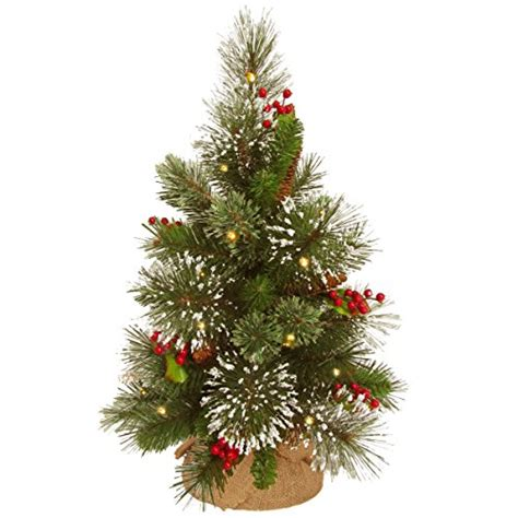 18 inch battery lit christmas tree national tree 18 inch wintry pine tree with cones berries snowflakes and 15 warm white