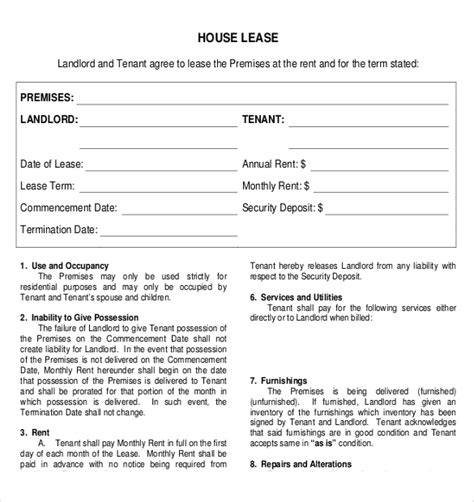 template of a lease agreement for a tenant rental agreement templates 17 free word pdf documents