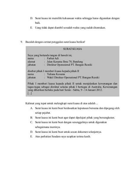 contoh soal surat kuasa