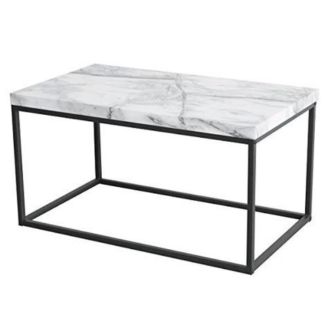 Durable Coffee Table Coffee Table For Living Room With Faux Marble Top Black Metal Durable New Ebay
