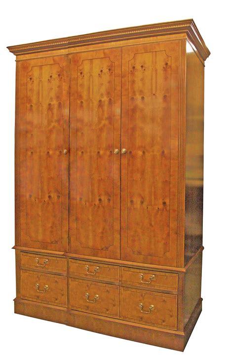 3 Door Wardrobe Large Wooden Wardrobe 6 Drawers