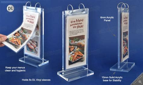 Acrylic Menu this table tent holder is ideally used at cafes restaurants for holding menus