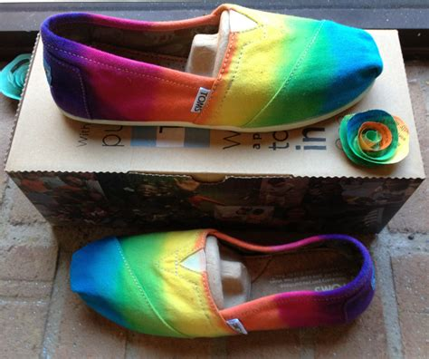 womens rainbow sneakers tie dye toms rainbow shoes s by 2dye4designs on etsy