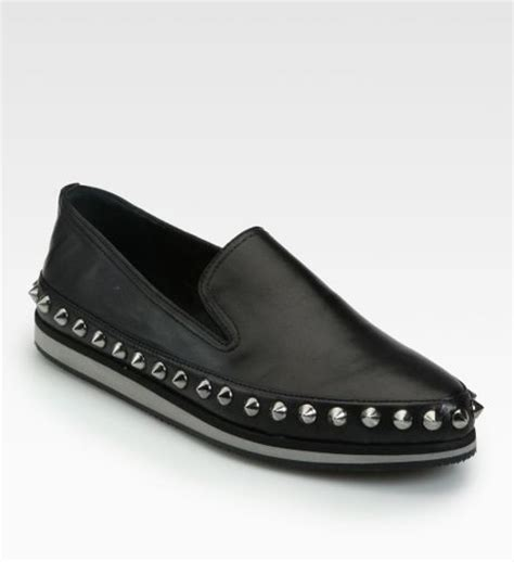 prada studded loafers prada studded leather loafers in black lyst