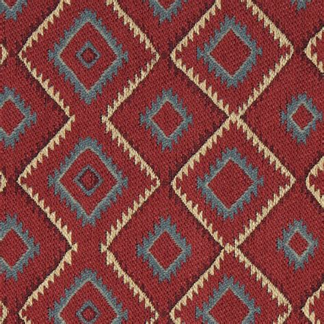 rustic upholstery fabric blue red beige and green diamond southwest style