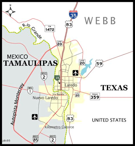 laredo texas map texas aaroads laredo and nuevo laredo mexico