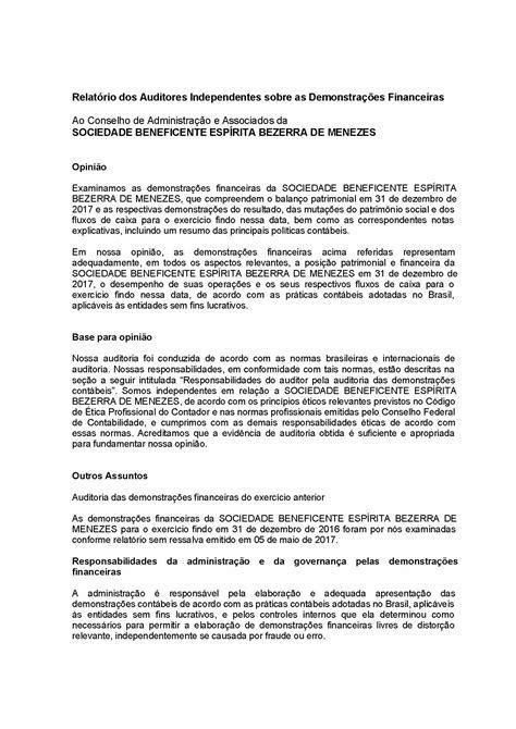 Relatório dos Auditores Independentes – Demonstrações