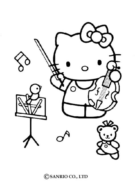 playing violin coloring page hello kitty playing the violin coloring pages hellokids com