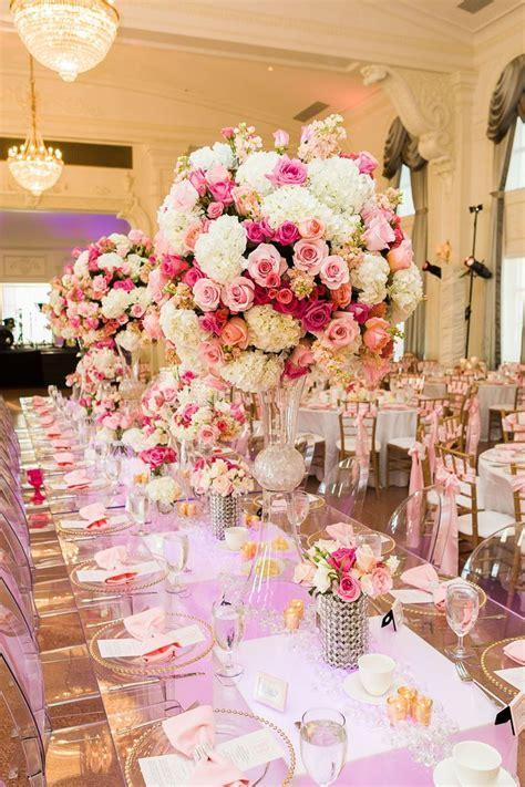 Centerpieces Pink Beige Red Gold floral arrangements