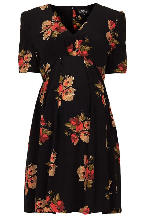 Topshop Dress Autumn by Topshop Maternity Autumn Floral Tea Dress In Black Lyst