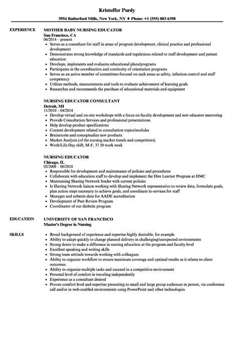 Resume For Nursing Educator by Nursing Educator Resume Sles Velvet