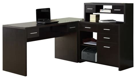 Monarch Specialties L Shaped Home Office Desk In Monarch Specialties Cappuccino Hollow L Shaped Computer Desk
