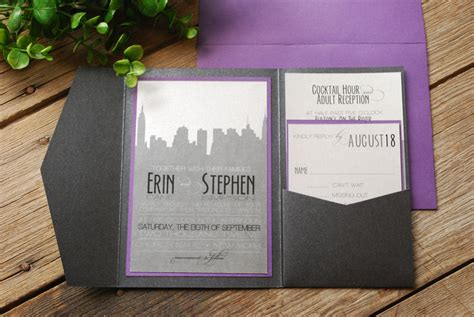 new york city skyline wedding invitations wedding invitation new york skyline purple and black with
