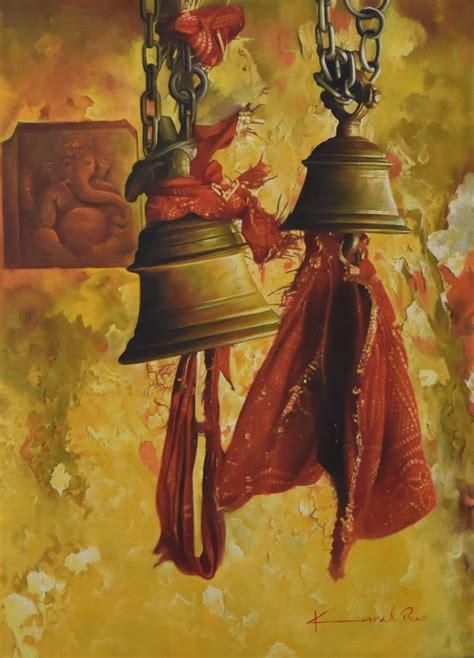 Black Marble Dining Room Table by Temple Bells By Artist Kamal Rao Oil Paintings