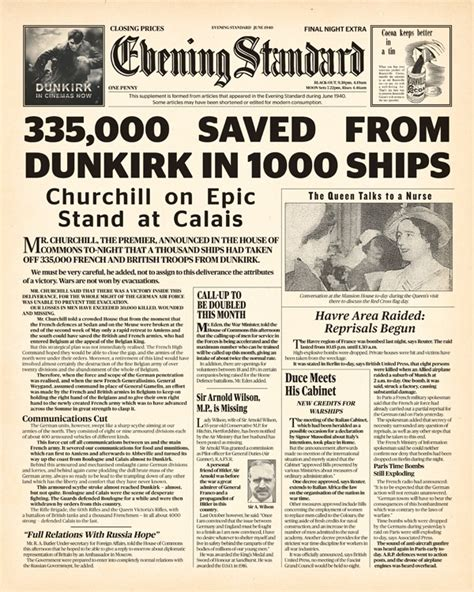 Paper From Newspaper - evening standard marks the release of dunkirk with 1940s