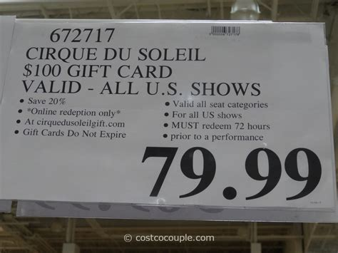 Gift Cards Sold At Costco - cirque du soleil discount gift cards