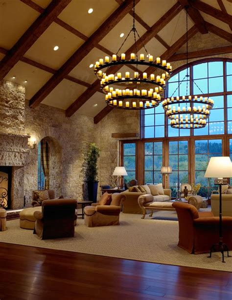 great room  candle chandeliers lodge house pinterest