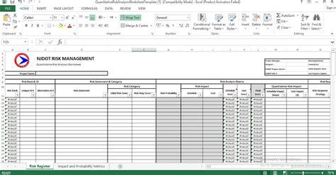 quantitative risk analysis excel template engineering