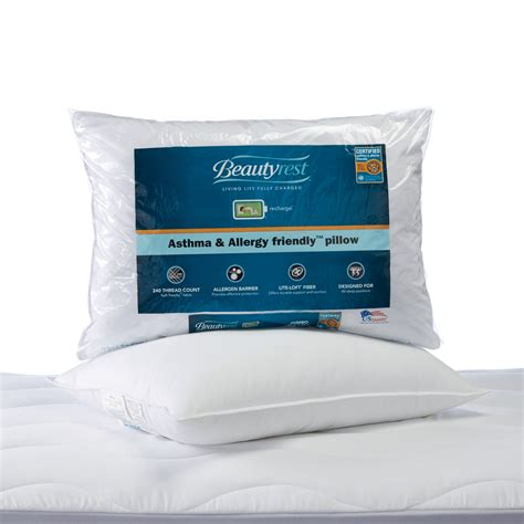 white bed rest pillow beautyrest asthma allergy friendly bed pillow aafa